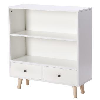 bibliotheque oobest bois mdf scandinave nordique avec 2 tiroirs blanc