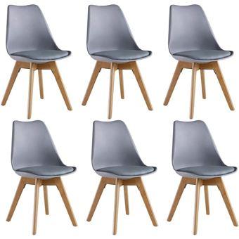 lot de 6 chaises scandinaves grises lorenzo