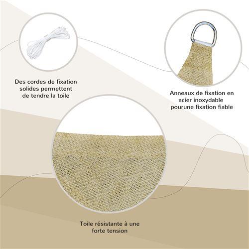 voile d ombrage carre 3 x 3 m polyethylene haute densite resistant aux uv coloris sable