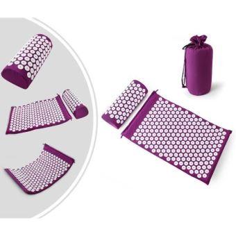 kit d acupression tapis coussin de massage coussin de massage d acupuncture comprend tapis oreiller pourpre 64 40 2 5 cm