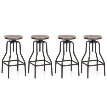 lot de 4 tabourets de bar de style industriel en bois acier chaises de bar en bois ikayaa
