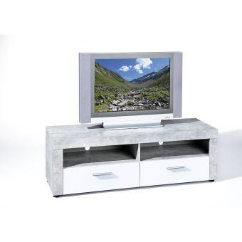 meuble tv hifi video rangement beton 6 3 2 niches 2 tiroirs gris blanc