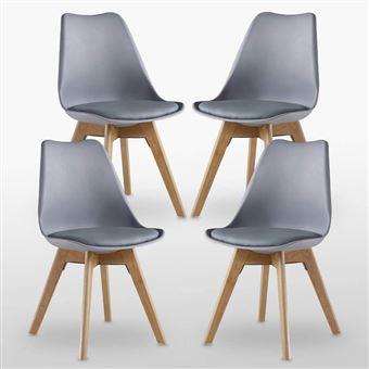lot de 4 chaises scandinaves grises lorenzo