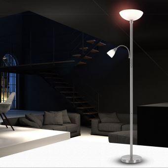globo lampadaire led lampe de plancher pour salon blade chrome 58931