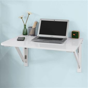 sobuy fwt05 w bureau table de cuisine table murale rabattable en bois 75 60cm blanc