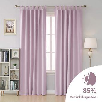 deconovo lot de 2 rideau thermique isolant anti froid rideau occultant fenetre a pattes rideaux pour enfants chambre rose pale 132x160cm