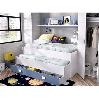 lit gigogne lilian avec tiroir et etagere 90x190cm bleu et chene gris