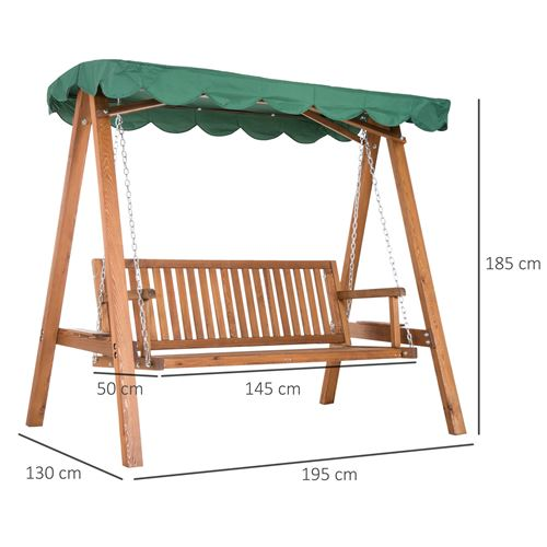 balancelle de jardin 3 places 2 tablettes support 1 95l x 1 3l x 1 85h m charge max 360 kg bois de pin vert