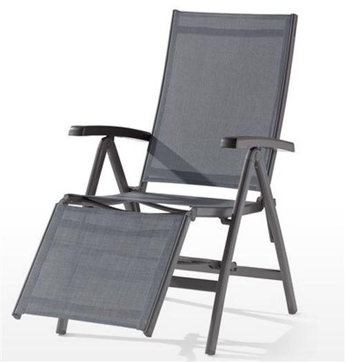 fauteuil relax de jardin en aluminium gris et tissu gris argente 95 x 62 x 109 cm pegane