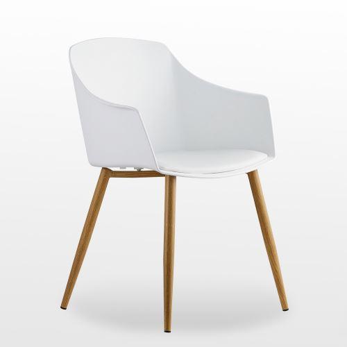 eden chaise design scandinave blanche accoudoirs salle a manger cuisine salon chambre
