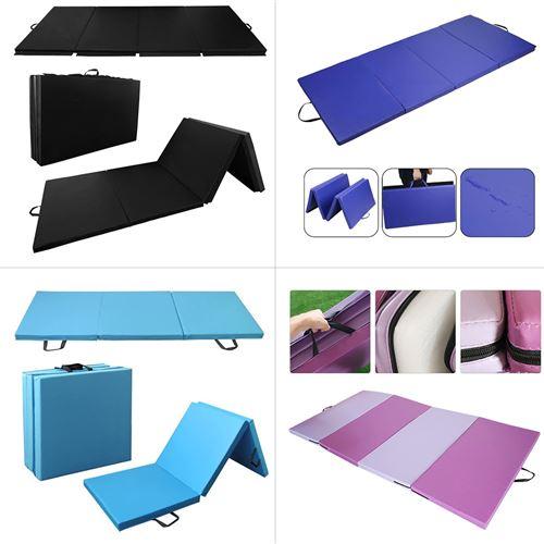 tapis de sol fitness tapis de yoga pliable pour le pilates la gymnastique le yoga 240x120x5cm noir