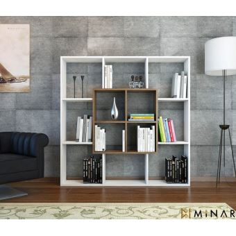 homemania bibliotheque leef avec etageres meuble de rangement pour salon bureau noyer blanc en bois 136 x 22 x 136 cm