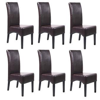 lot de 6 chaises latina salle a manger cuir reconstitue marron pieds fonces