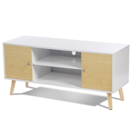 idmarket meuble tv falko bois blanc et