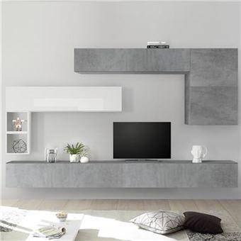 meuble tv suspendu blanc laque et gris piana l 275 x p 30 x h 200 cm
