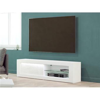 meuble tv eclipse leds mdf blanc laque 1 porte 2 niches