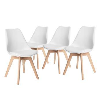 urban meuble 4 chaises scandinave plastique pp bois blanc