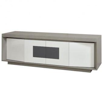 plymouth meuble tv led contemporain laque blanc et placage bois chene gris insert en ceramique gris l 160 cm