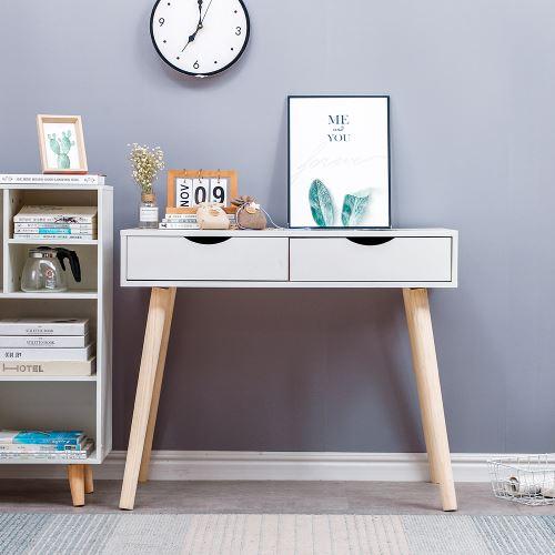 table de bureau table plan de travail avec 2 tiroirs blanc zada