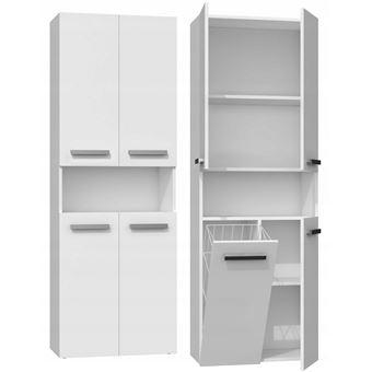 glaze armoire de salle de bain avec porte panier style moderne 174x60x30 cm colonne salle de bain blanc
