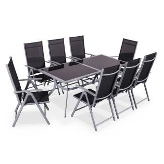 salon de jardin en aluminium et textilene naevia gris noir 1 grande table rectangulaire 8 fauteuils pliables