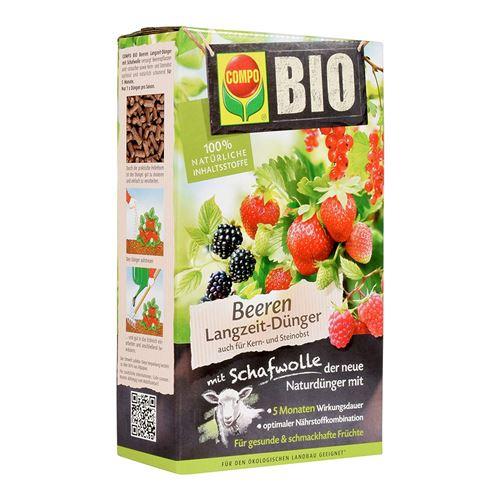 Compo Bio Engrais pour baies de longue durée avec laine de mouton, unique, la pierre Engrais organique pour tous les plantes à baies et pur – Arbustes, ainsi que noyau et fruits 750 g
