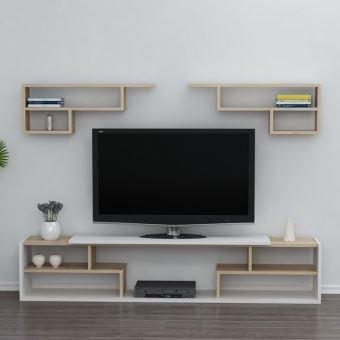 homemania istanbul meuble tv avec etageres portes tablettes du salon blanc chene en bois 180 x 29 5 x 36 8 cm