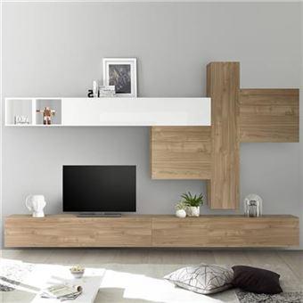 meuble tv mural couleur chene et blanc laque osteria l 275 x p 30 x h 200 cm