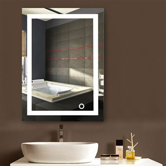 Miroir Lumineux Led Salle De Bain 22w Lampe De Miroir Eclairage Etanche 50 70cm Blanc Froid 6500k Achat Prix Fnac