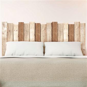 sticker tete de lit planche en bois 70 x 160 cm marron
