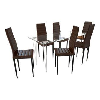 lot de 6 chaises marron aux lignes fines avec une table en verre