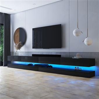 meuble tv suspendu meuble de salon mural hylia double 2x140 cm noir mat noir brillant avec led style moderne