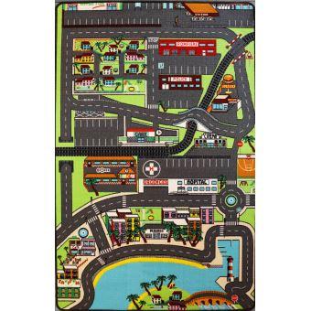 tapis enfant circuit de voitures dans la ville 130 x 200 cm