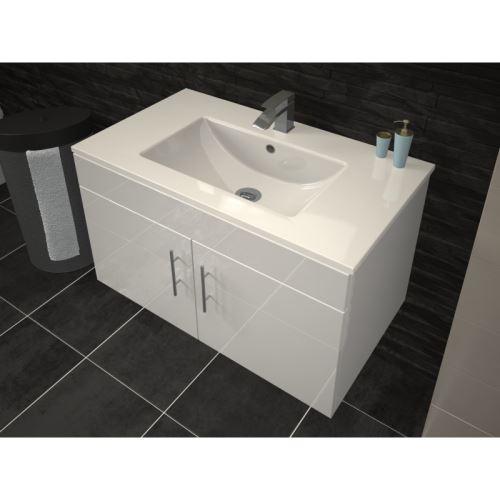 Meuble De Salle De Bain Simple Vasque 80 Cm Blanc Laque Lea Installations Salles De Bain Achat Prix Fnac