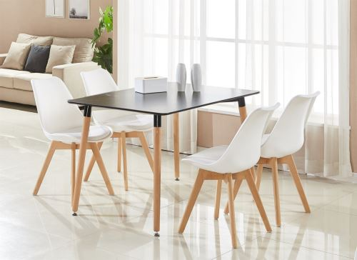 ensemble table et 4 chaises blanches scandinaves lorenzo