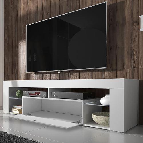 meuble tv banc tv bianko 140 cm blanc mat blanc brillant style moderne tablettes en verre