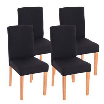 lot de 4 chaises de salle a manger littau tissu noir pieds clairs