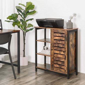 meuble de rangement porte persienne petrid 70 cm bois metal noir style vintage style industriel