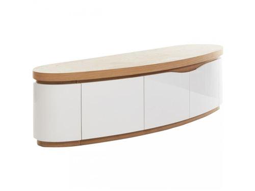 subleem meuble tv 170 cm 3 portes ellipse chene et blanc
