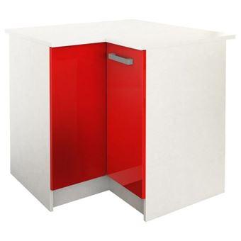start meuble de cuisine bas d angle avec plan de travail l 88 x p 88 cm rouge brillant