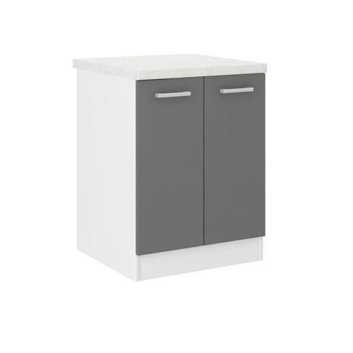 ultra meuble bas de cuisine l 60 cm avec plan de travail inclus gris