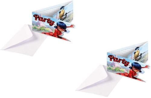 mgs33 lot de 16 cartons d invitation party avec enveloppes ladybug miraculous pour anniversaire 16 enfants