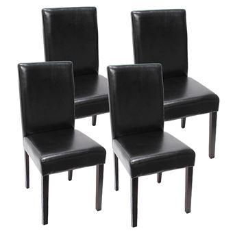 lot de 4 chaises de sejour littau simili cuir noir pieds fonces