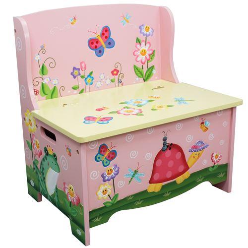 banc de rangement meuble en bois boite coffre a jouets enfant fille td 11644a