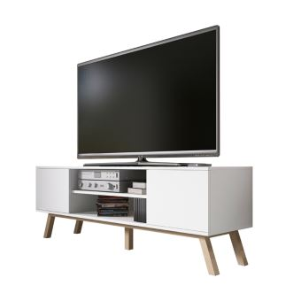 meuble tv vero bois 150cm blanc mat