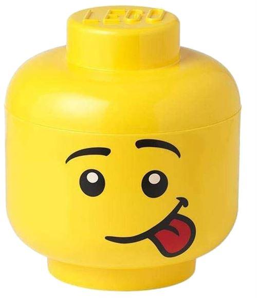 lego boite de rangement tete silly mini 10 x 11 cm polypropylene jaune