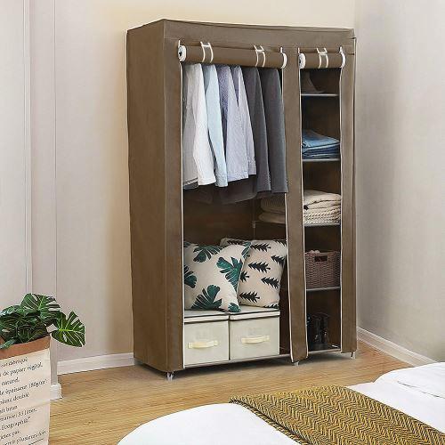 armoire penderie chambre meuble rangement pas cher cafe en tissu grande capacite 110 45 178cm