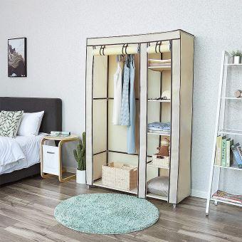 armoire chambre meuble rangement pas cher beige en tissu grande capacite