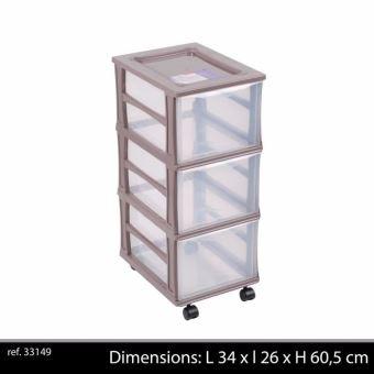 colonne sur roulettes en plastique 3 tiroirs de rangement