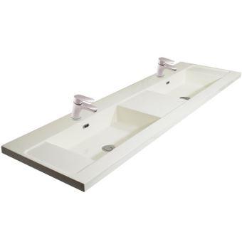 double vasque 160 cm avec 2 robinets mitigeurs lavabo chrome blanc